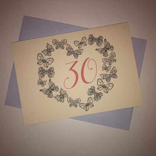 30th Birthday Butterfly Card