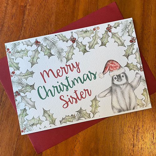 Sister Christmas Card- Penguin with Holly Border
