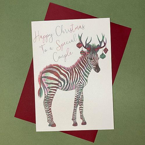 Christmas Zebra Special Couple Card