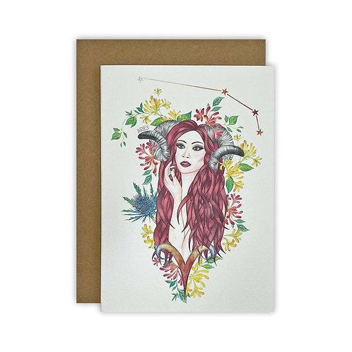 Aries Goddess Zodiac Card/ Mini Print