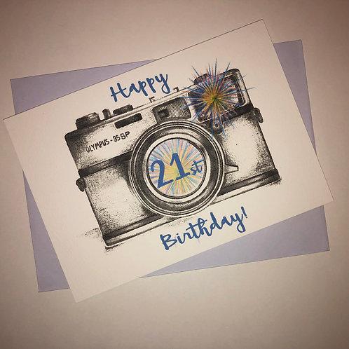 21st Birthday Camera Card- Blue