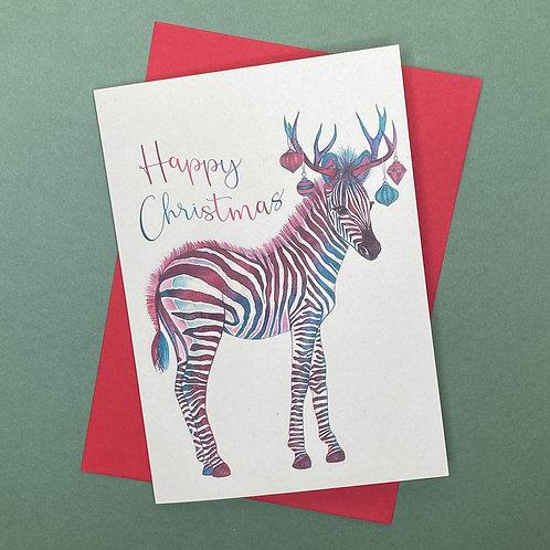 Christmas Zebra Card