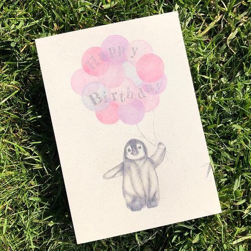 Penguin Birthday Card- Pink