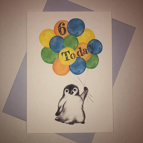 6th Birthday Little Penguin Card- Brights