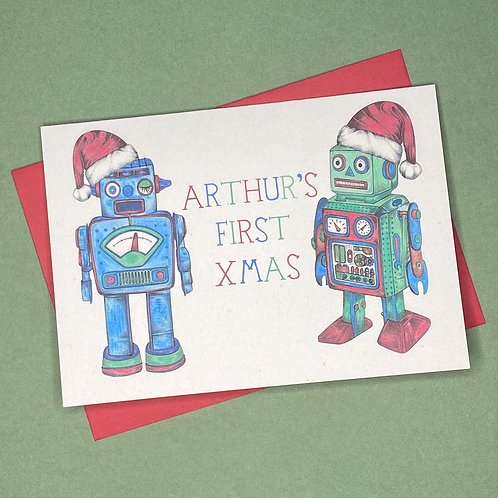 Personalised First Christmas Robot Card