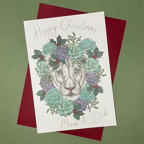 Christmas Lion Mum & Dad Card