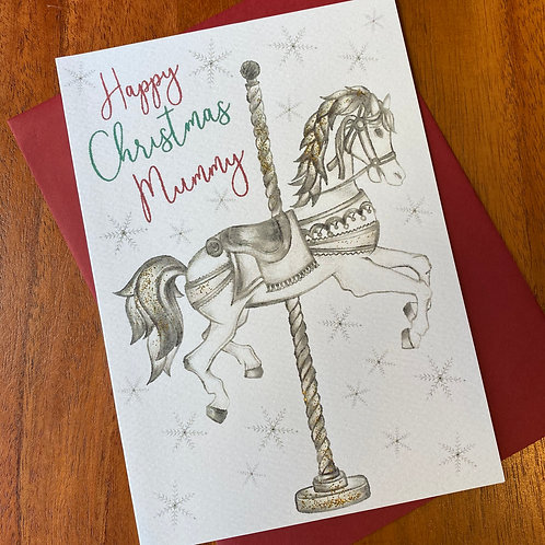 Mummy Christmas Card- Carousel Horse