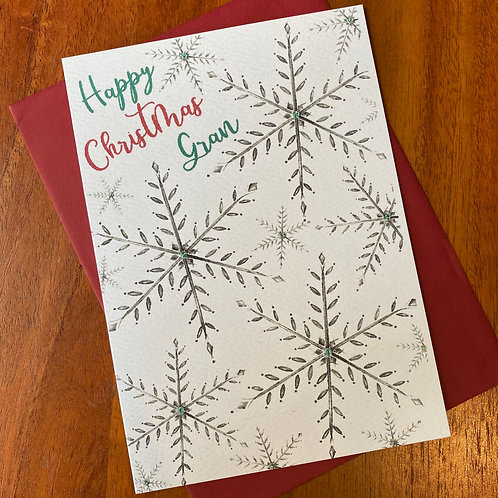 Gran Christmas Card- Snowflakes