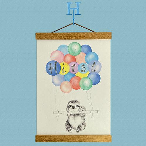 Personalised Sloth Balloon Print