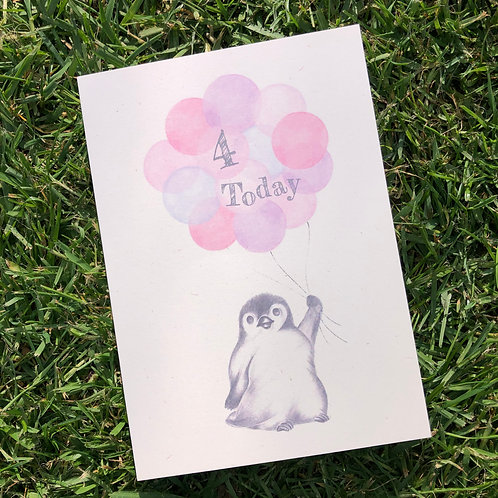 4th Birthday Little Penguin Card