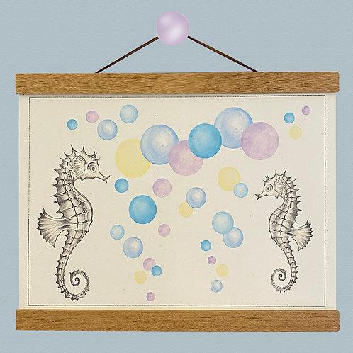 Seahorse Lilac Blue Bubble Print