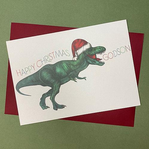 T-Rex Godson Christmas Card