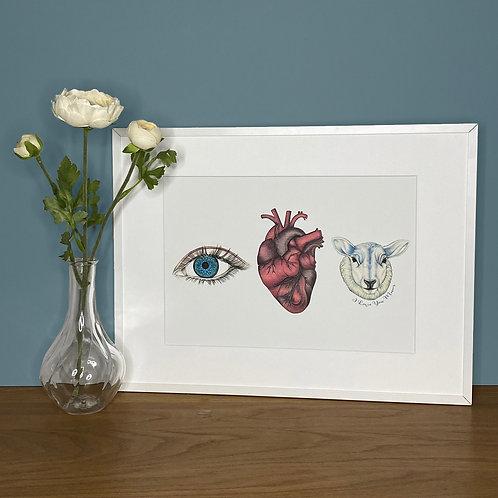 'Eye Heart Ewe' Mothers Day Print