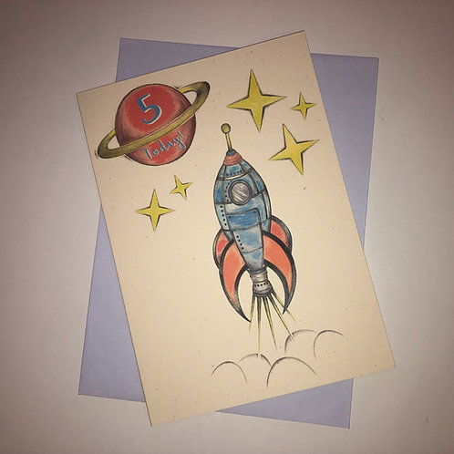5th Birthday Rocket Card