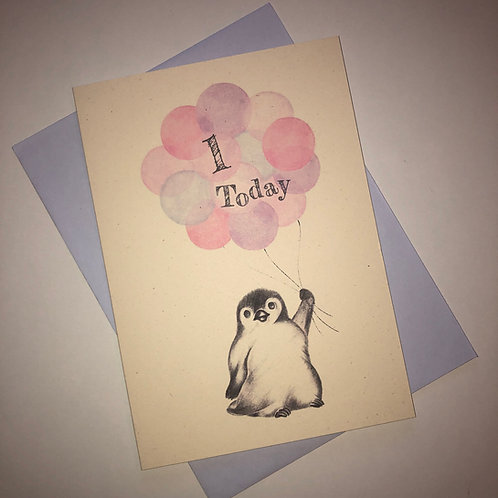 1st Birthday Little Penguin Card