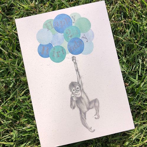 2nd Birthday Orangutan Card