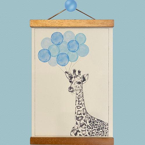 Giraffe Blue Balloon Print