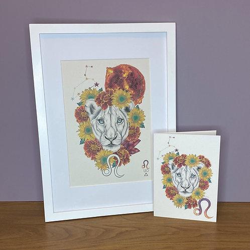 Leo Zodiac Print and Card Set
