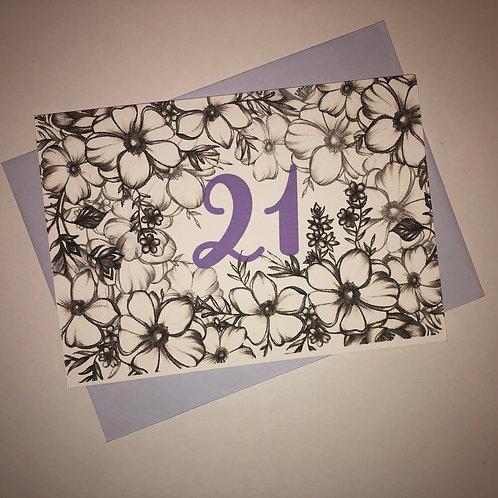 21st Birthday Flower Card