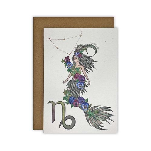 Capricorn Mermaid Zodiac Card