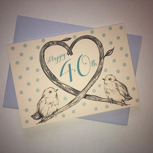 40th Birthday Birds Card