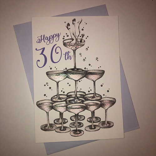 30th Birthday Champagne Glass Card