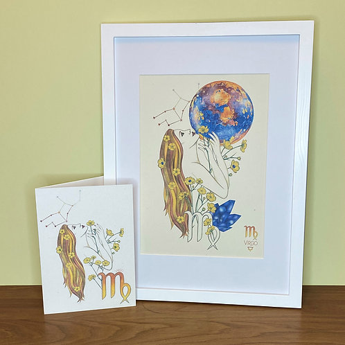 Virgo Zodiac Print and Card Set