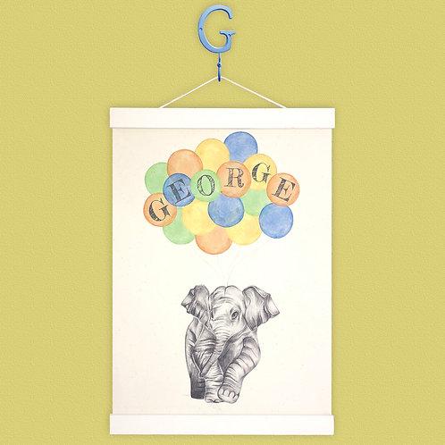 Personalised Elephant Balloon Print