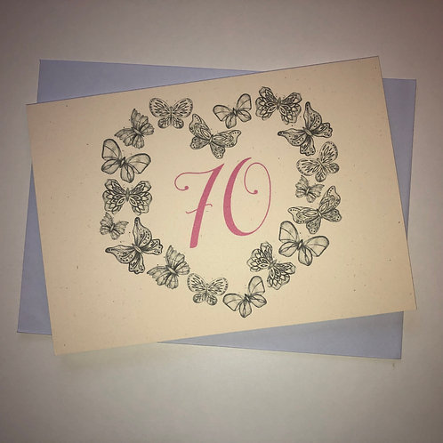 70th Birthday Butterfly Card