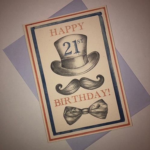21st Birthday Top Hat  Card