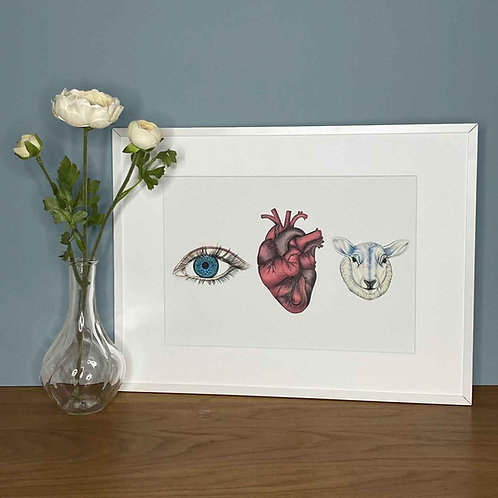 'Eye Heart Ewe' Colour Print