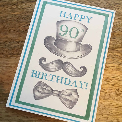 90th Birthday Top Hat Card