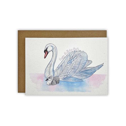 Swan & Cygnet Mum Birthday Card