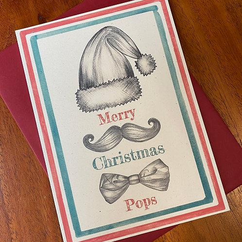 Pops Christmas Card- Moustache Bow Tie
