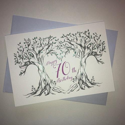 70th Birthday Trees Card