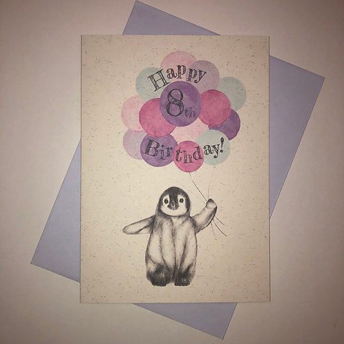 8th Birthday Penguin Card
