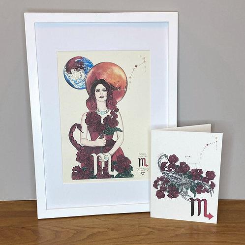 Scorpio Zodiac Print and Card Set