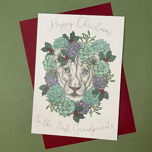 Christmas Lion Grandparents Card