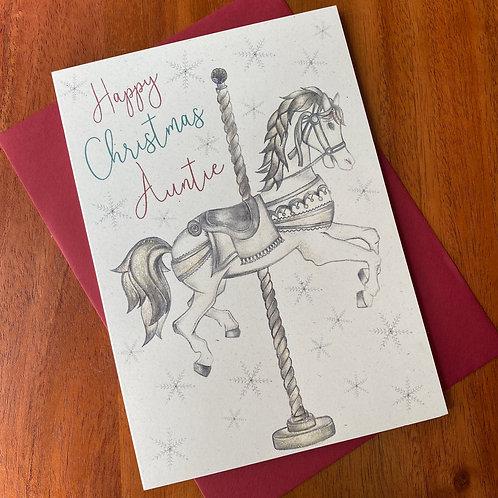 Auntie Christmas Card- Carousel Horse