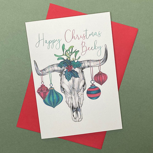 Personalised Skull Christmas Card- Add Any Name!