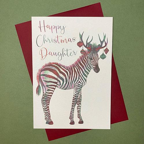 Christmas Zebra Daughter Card