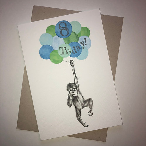 8th Birthday Orangutan Card