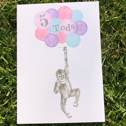 5th Birthday Orangutan Card