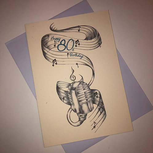 80th Birthday Microphone Card
