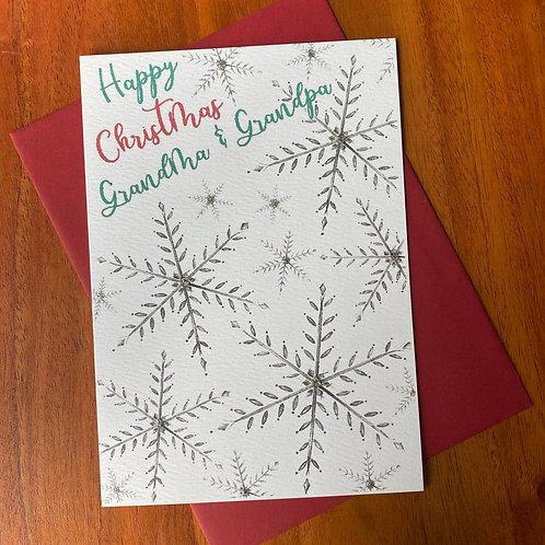 Grandma & Grandpa Christmas Card- Snowflakes