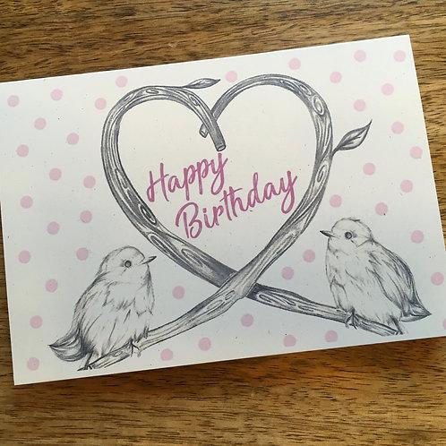 Birds Happy Birthday Card