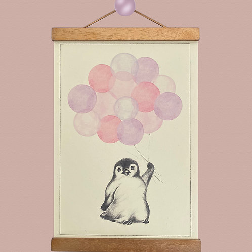 Little Penguin Pink Balloon Print
