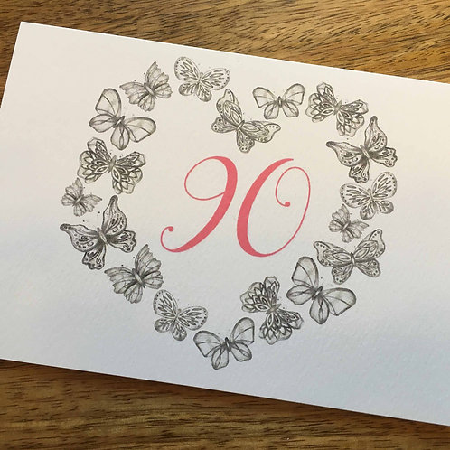 90th Birthday Butterfly Card