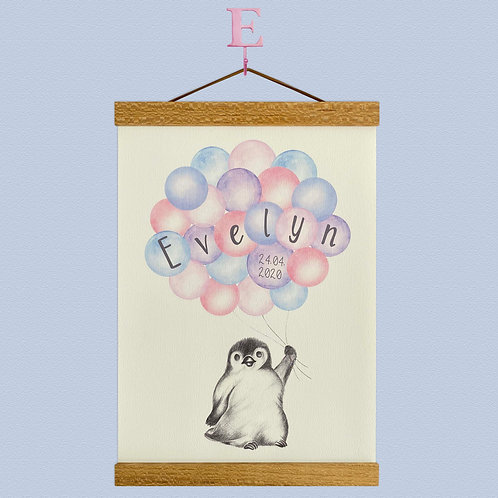 Personalised Little Penguin Balloon Print
