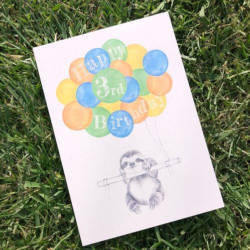 3rd Birthday Sloth Card